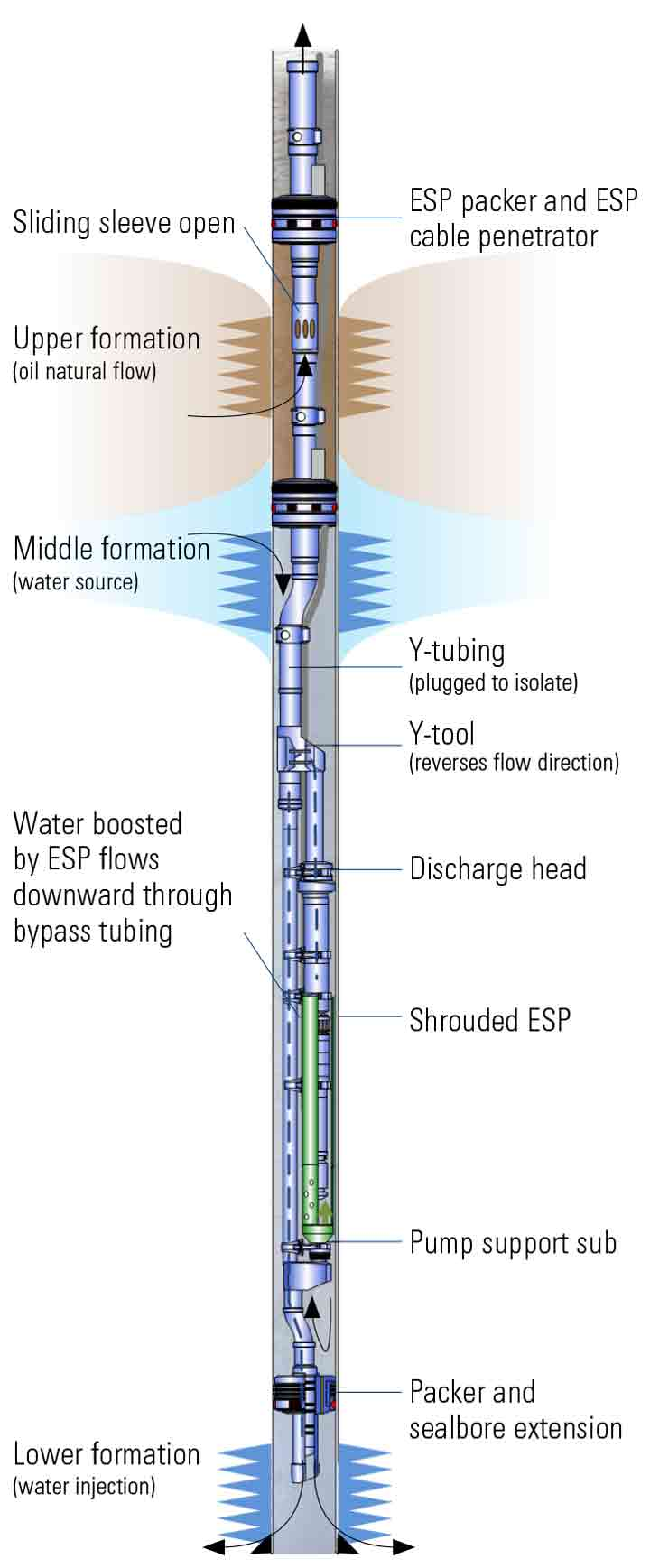 Graphic:  Downhole water sink technology created a pressure drop below the oil/water contact, drawing water into an ESP that reinjected it in a lower zone.