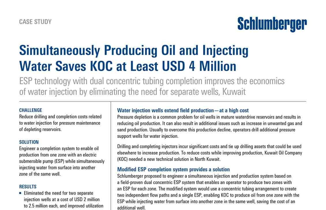 Simultaneously Producing Oil and Injecting Water Saves KOC