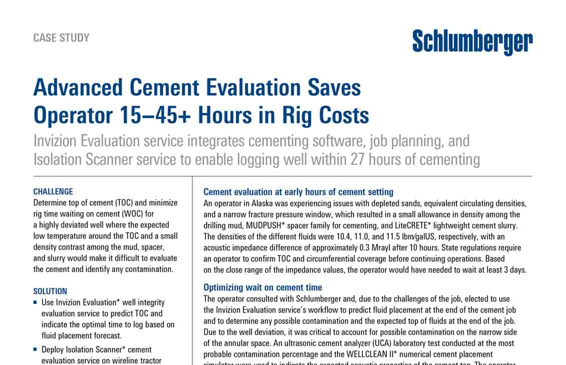 Advanced Cement Evaluation Saves Operator 15–45+ Hours in Rig Costs