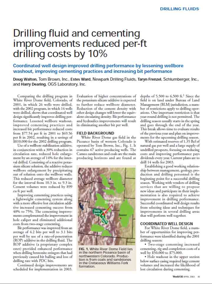 Drilling Fluid and Cementing Improvements Reduced Per-Fit Drilling Costs by 10%