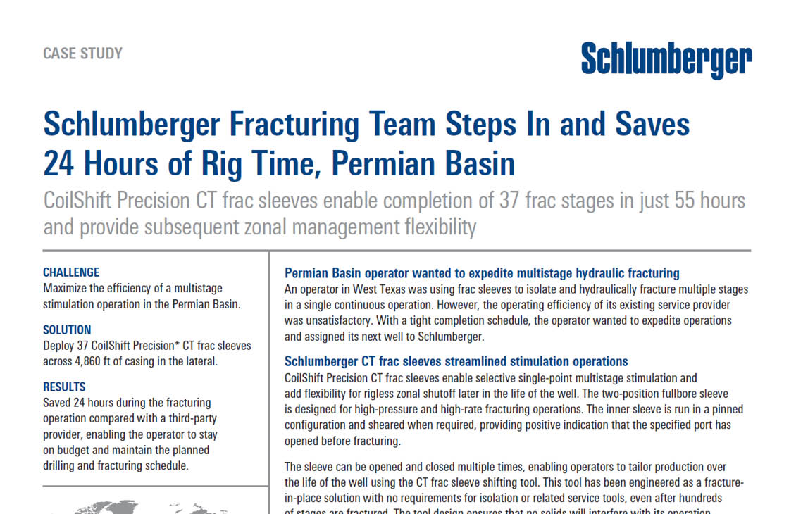 Schlumberger Fracturing Team Steps In and Saves 24 Hours of
