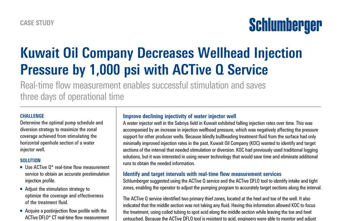 Kuwait Oil Company Decreases Wellhead Injection Pressure by