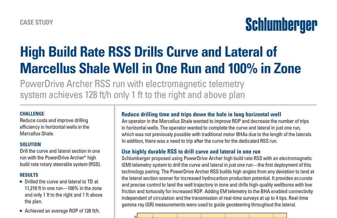 High Build Rate RSS Drills Curve and Lateral of Marcellus Shale Well