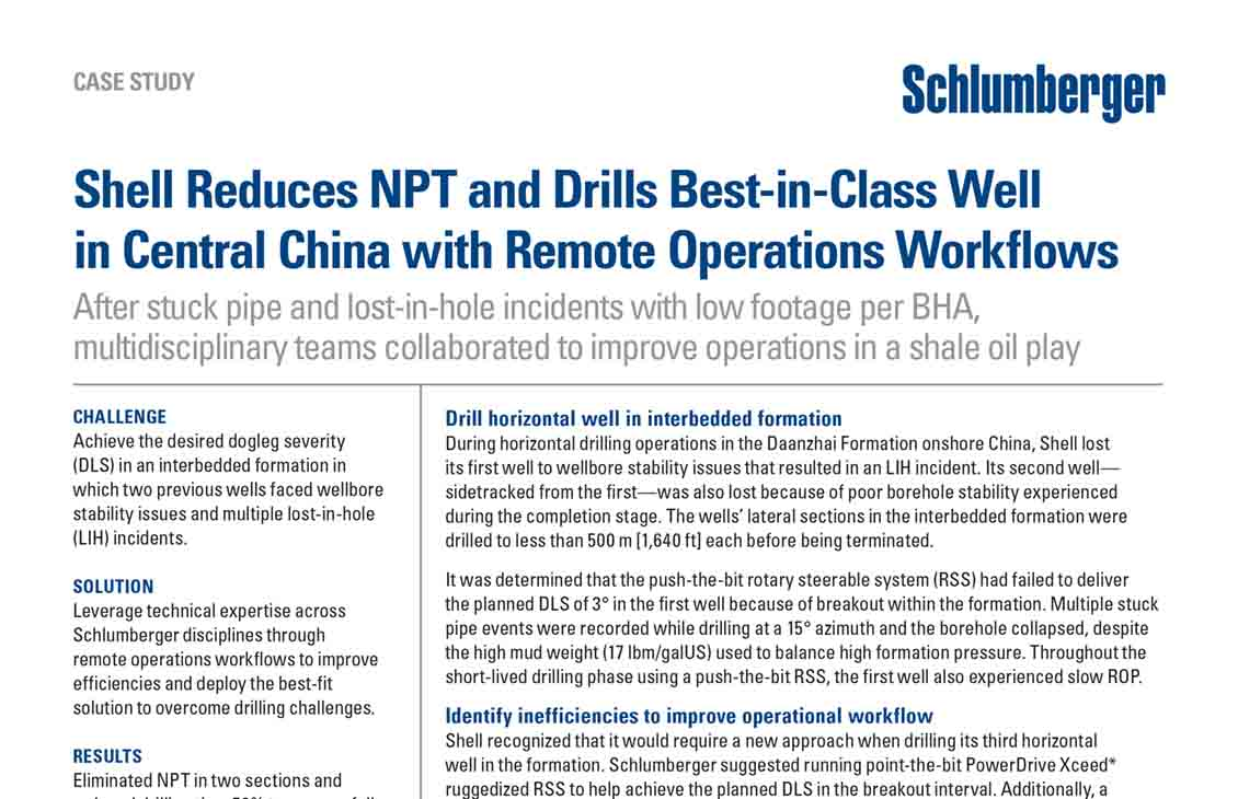 Shell Reduces NPT and Drills Best-in-Class Well in Central