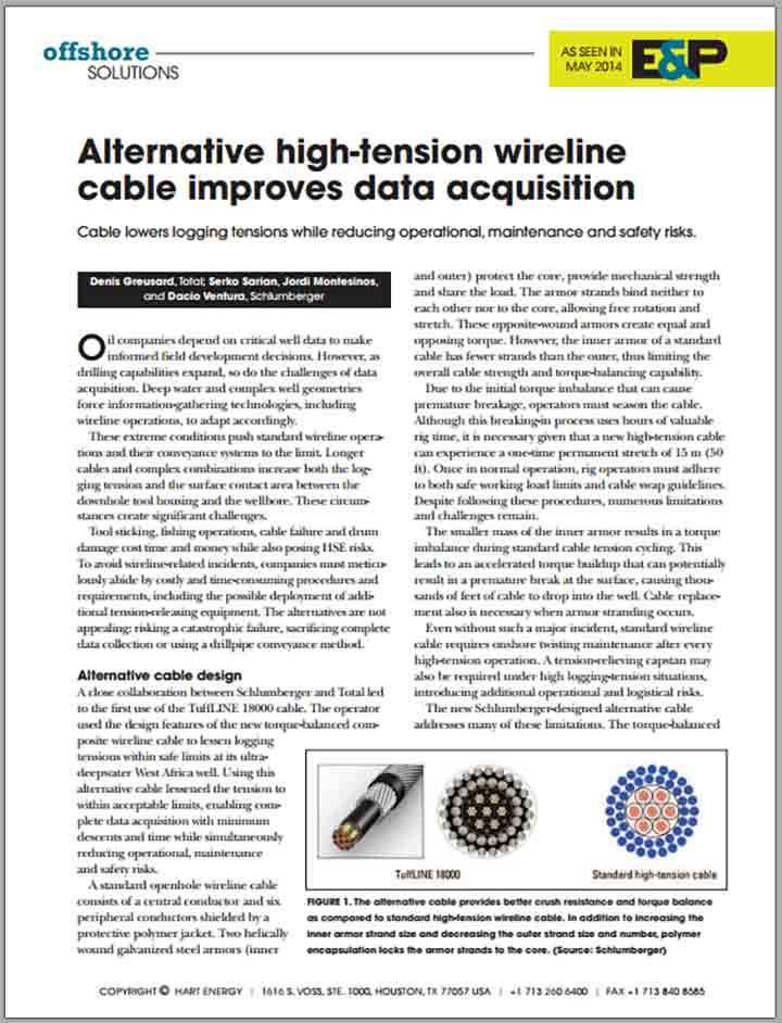 Alternative High-Tension Wireline Cable Improves Data Acquisition