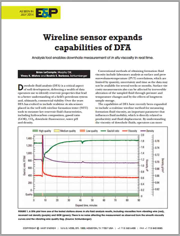 Wireline Sensor Expands Capabilities of DFA
