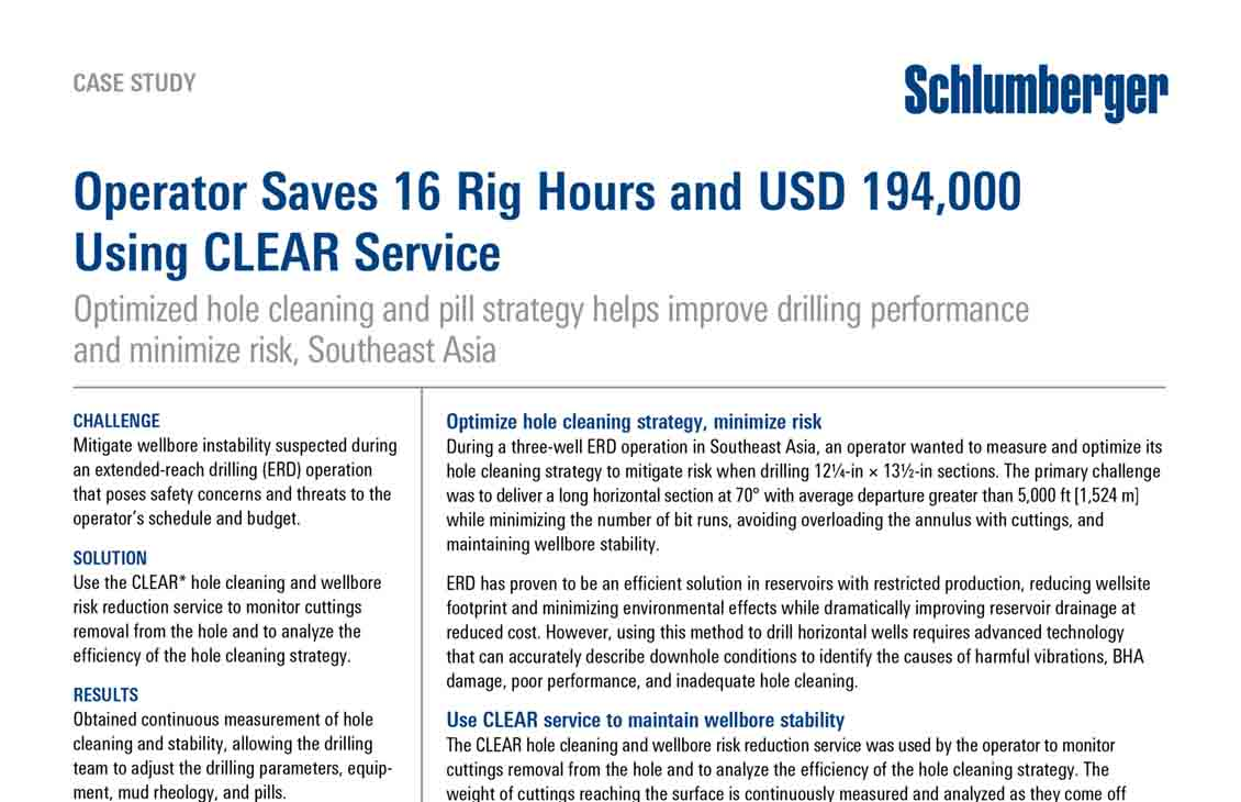 Operator Saves 16 Rig Hours and USD 194,000 Using CLEAR