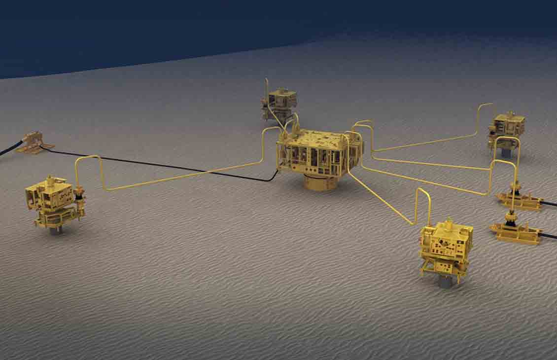 Fully Integrated Subsea Production System 3D Rendering
