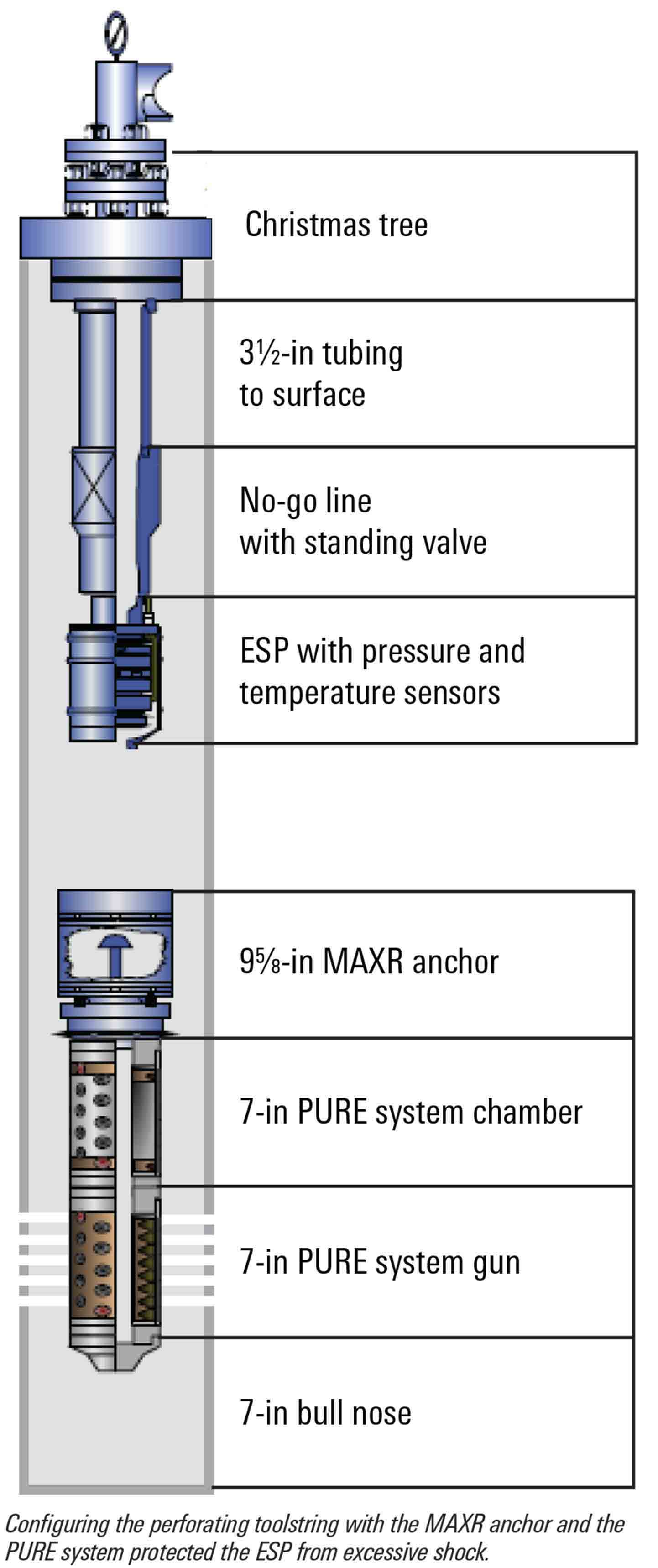 Configuring the perforating toolstring with the MAXR anchor and the PURE system protected the ESP from excessive shock.
