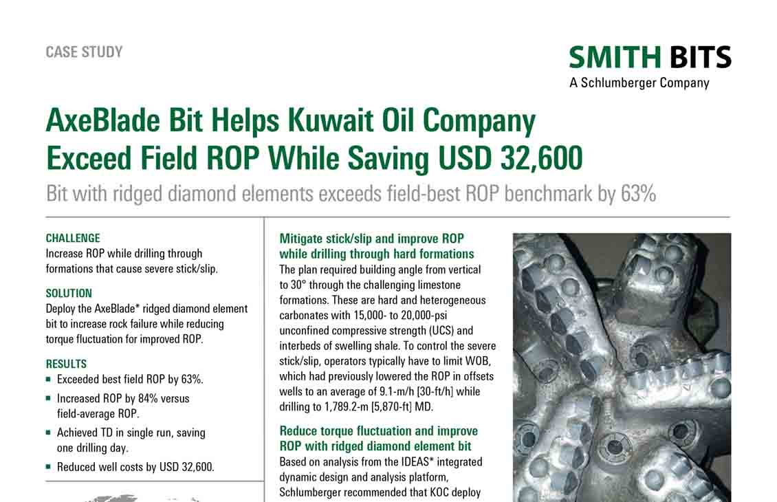 AxeBlade Bit Helps Kuwait Oil Company Exceed Field ROP While Saving