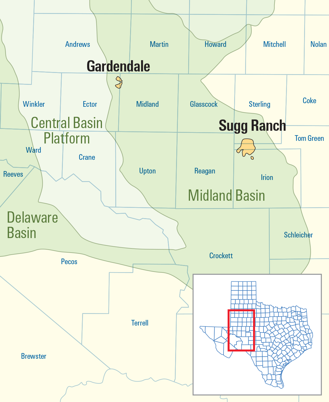 Map of the Midland Basin in West Texas, USA.