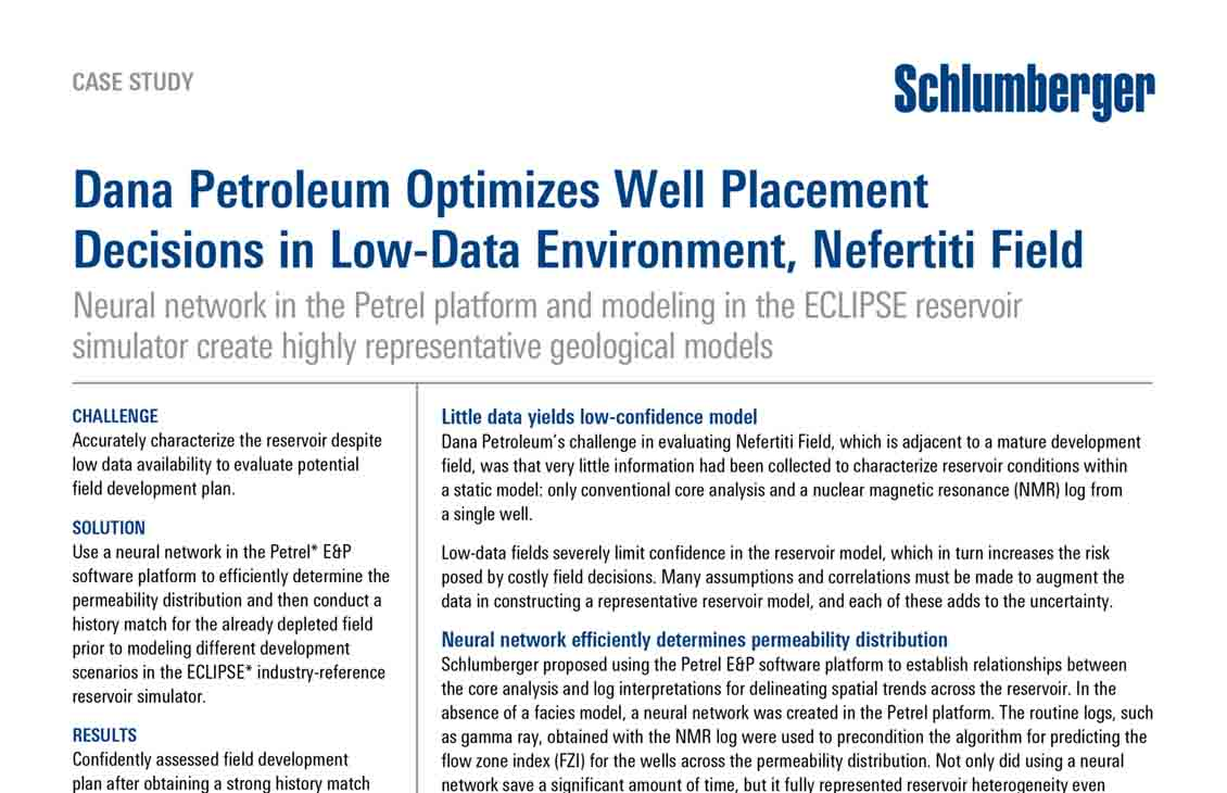 Dana Petroleum Optimizes Well Placement Decisions in Low-Data