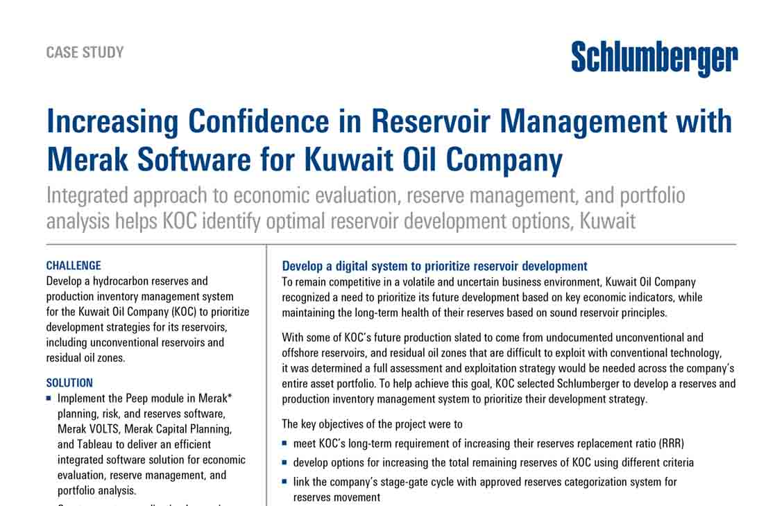 Increasing Confidence in Reservoir Management with Merak Software