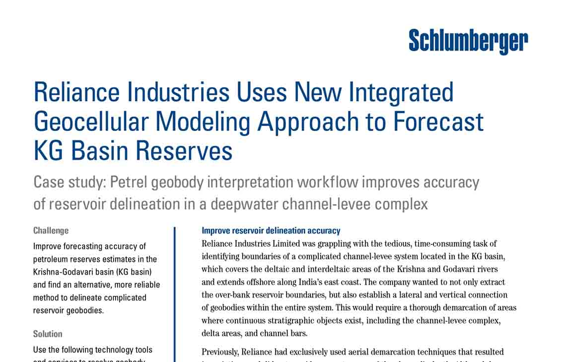 Reliance Industries Uses New Integrated Geocellular Modeling