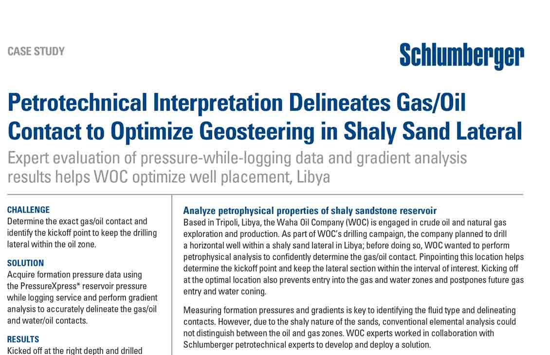 Petrotechnical Interpretation Delineates Gas/Oil Contact to