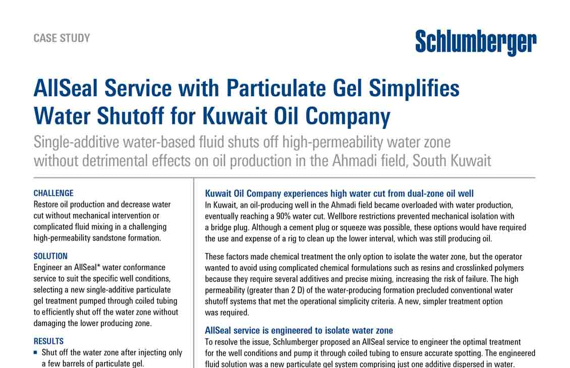 AllSeal Service with Particulate Gel Simplifies Water Shutoff for