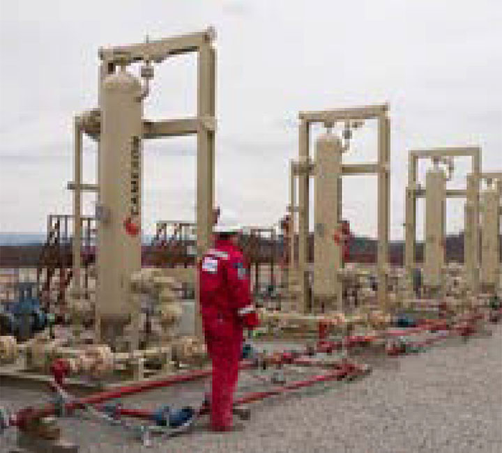 Vertical sand separators in the Marcellus Shale.