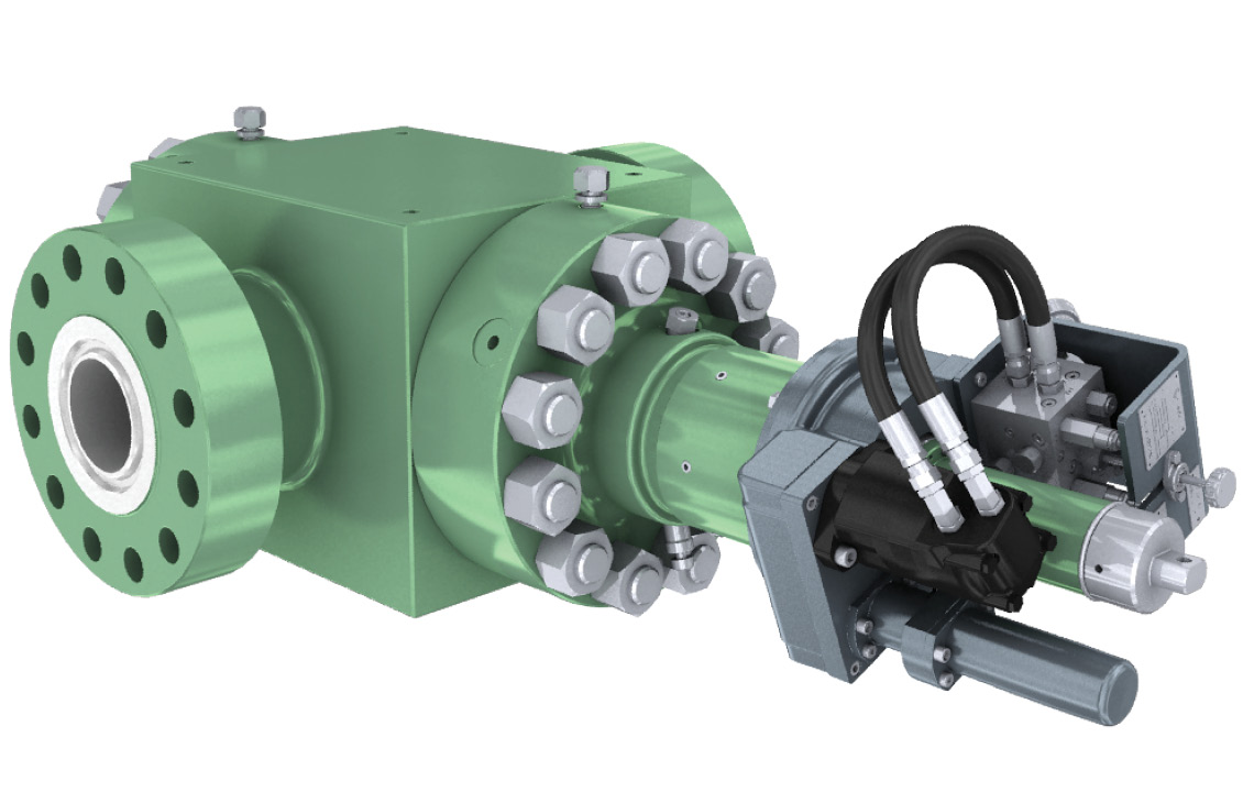 3D rendering of a hydraulic multiturn actuator, on the right, installed on a 5-in gate valve.