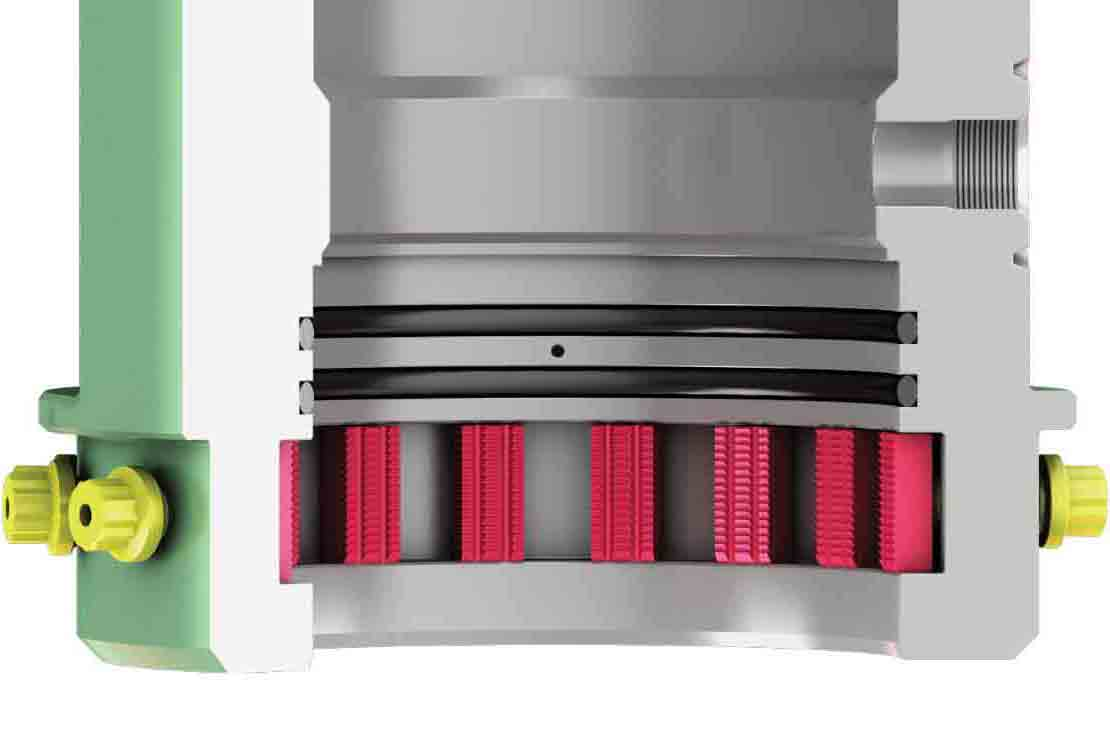 Cutaway rendering of the SimpleGrip system showing the slip segments and energizing screws.
