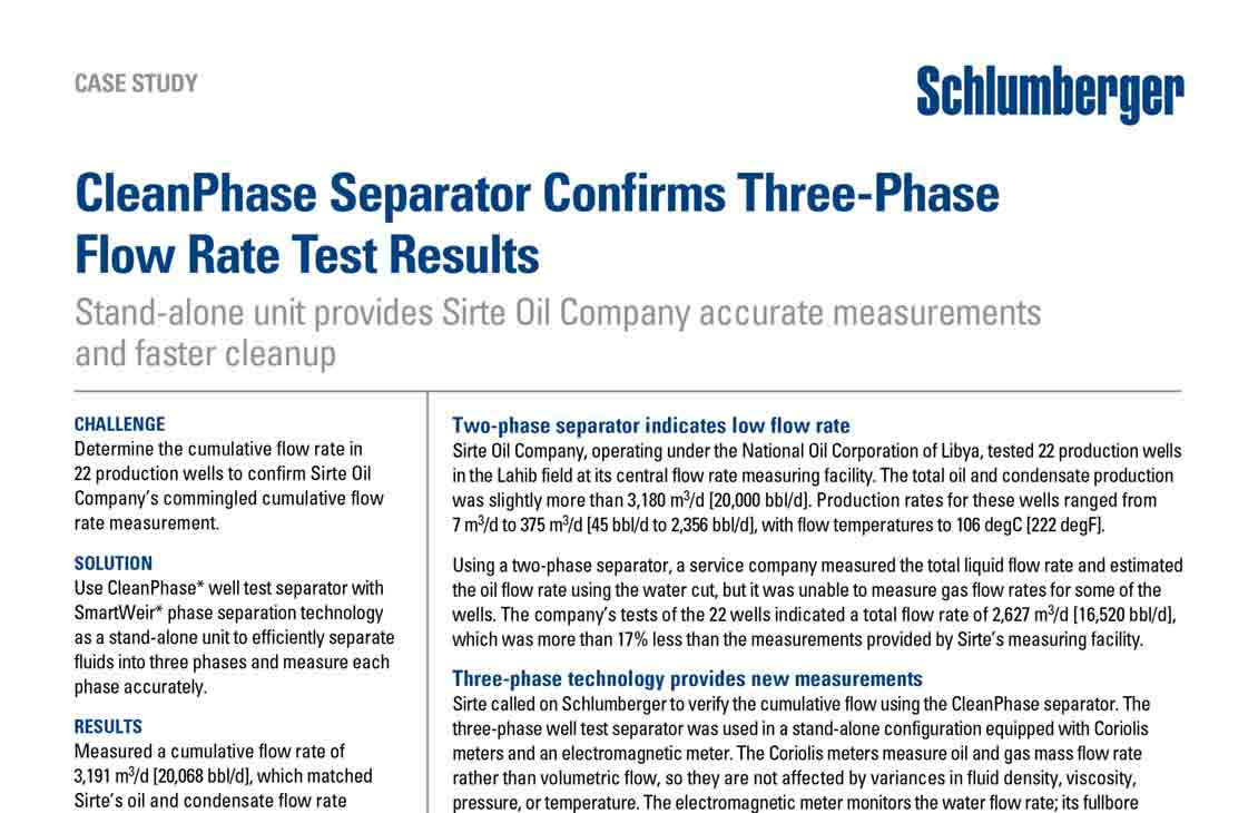 CleanPhase Service Confirms Three-Phase Flow Rate Test