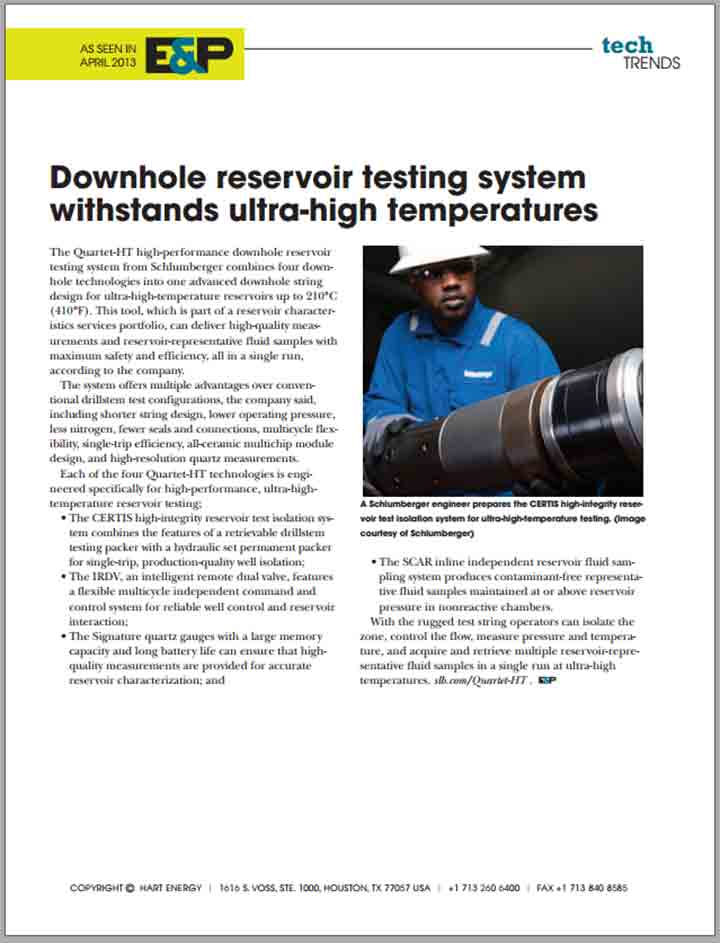Downhole Reservoir Testing System Withstands Ultra-High Tempera