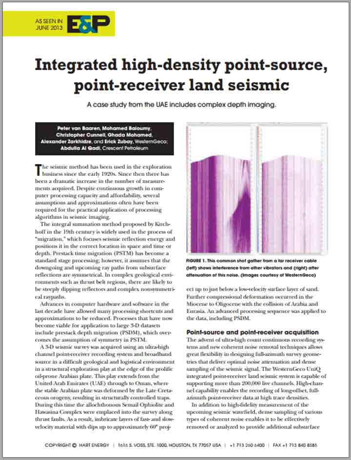 Integrated High-Density Point-Source, Point-Receiver Land Seismic