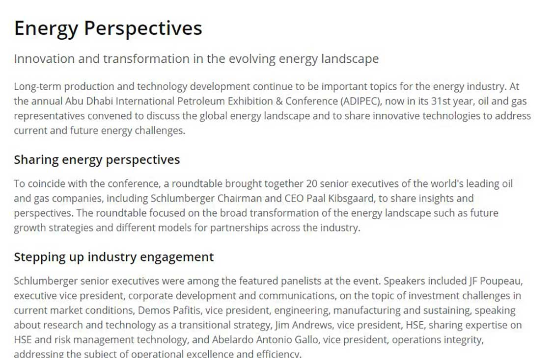 Energy Perspectives | Schlumberger