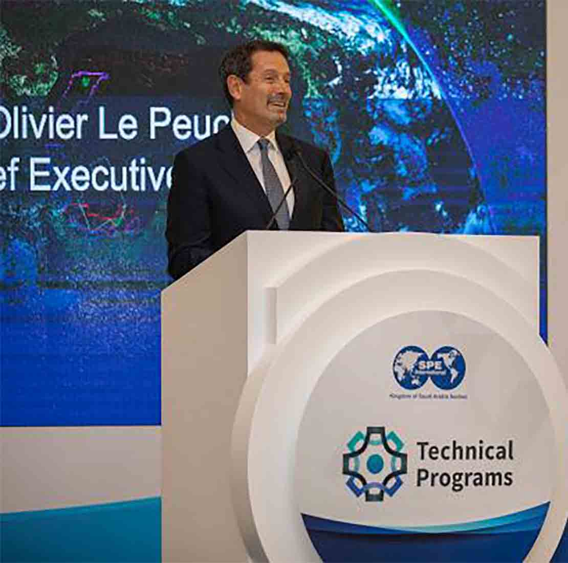 Schlumberger CEO, Olivier Le Peuch, speaks at the SPE event in the Middle East