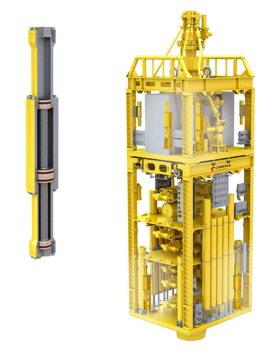 Rendering showing that the system needs two subsea pressure intensifiers installed on the stack.