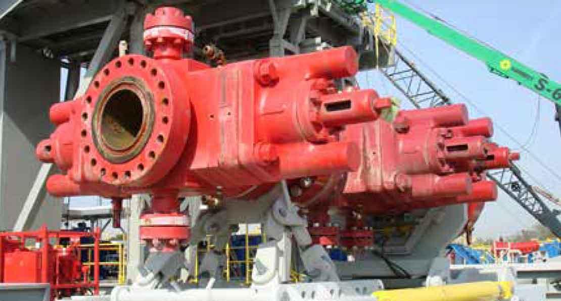 Red BOP on the Wrangler BOP handling system
