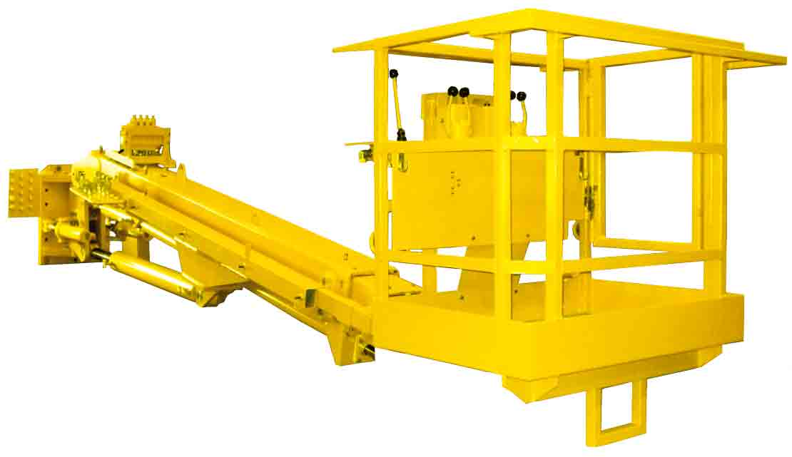 Work basket with double-telescopic boom