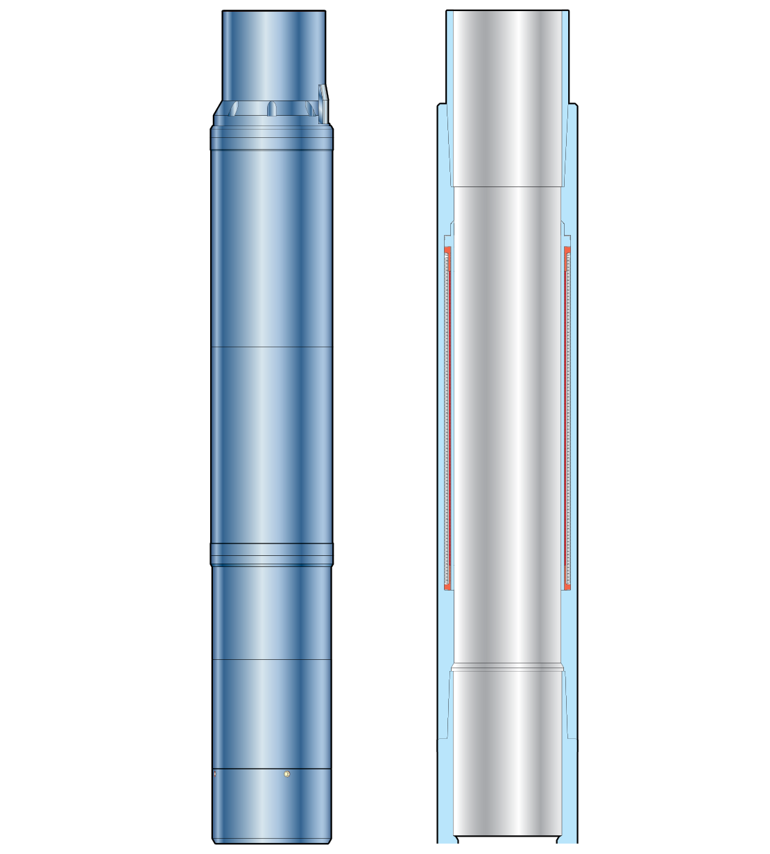 3D cutaway illustration of the inductive coupler technology for intelligent completions.