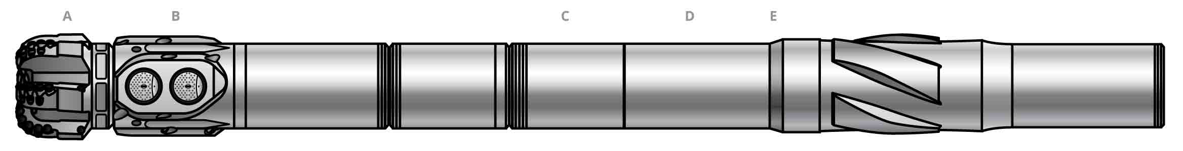 Simplified side-view illustration of the core components of a NeoSteer CL at-bit rotary steerable system BHA