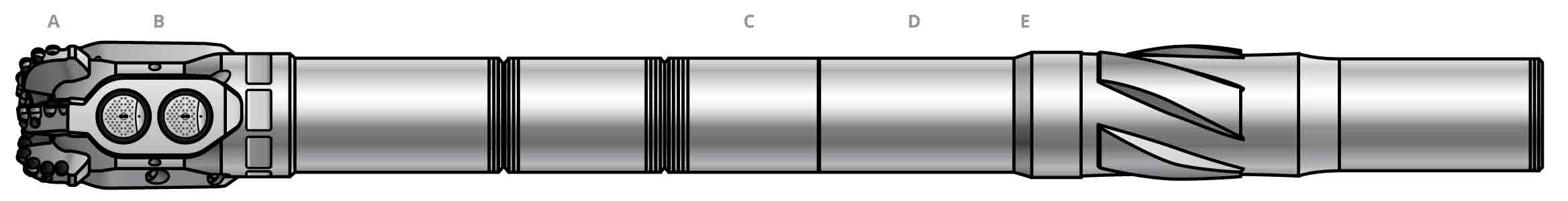 Simplified side-view illustration of the core components of a NeoSteer CLx at-bit rotary steerable system BHA
