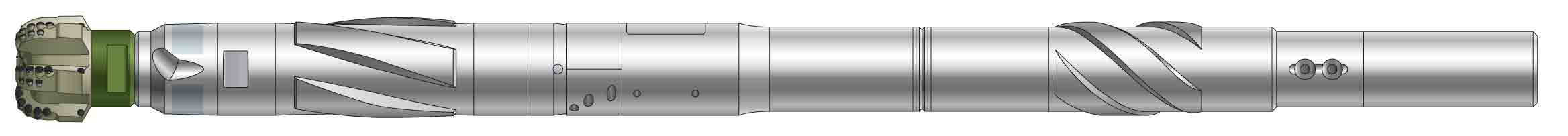 A simplified side-view rendering of a shortened BHA incorporating a PowerDrive Archer RSS and a PDC bit