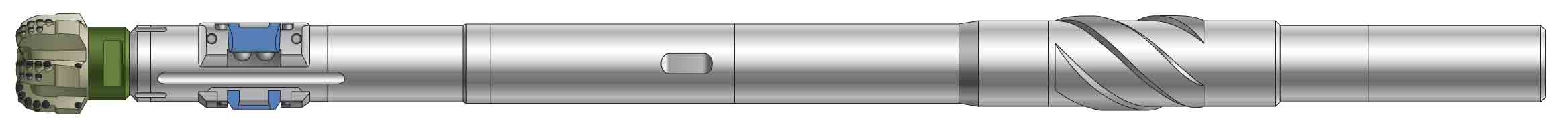 A simplified side-view rendering of a shortened BHA incorporating a PowerDrive ICE RSS and a PDC bit