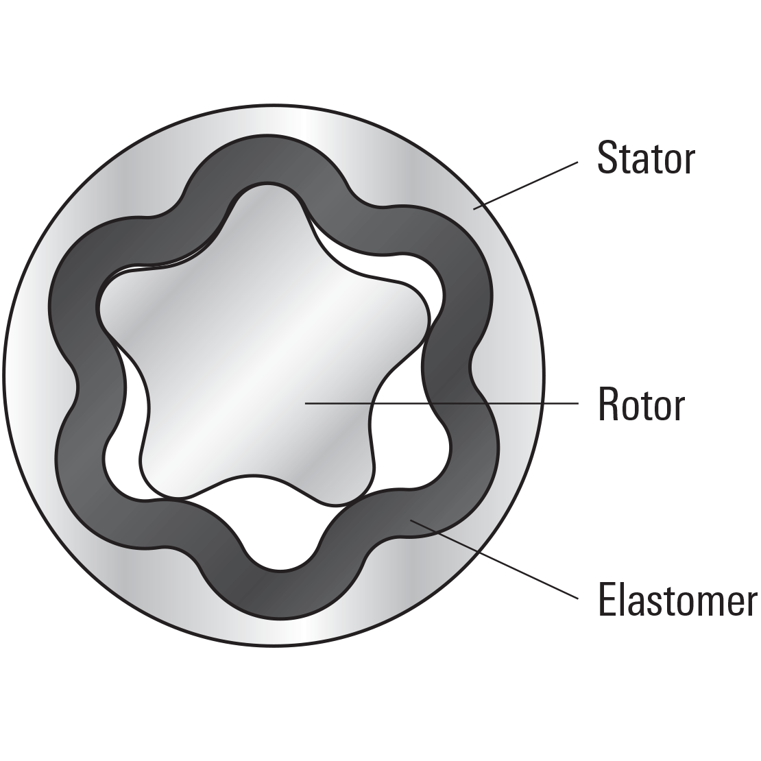 Diagram highlighting the stator, rotor, and even-thickness elastomer of a PowerPak ERT motor
