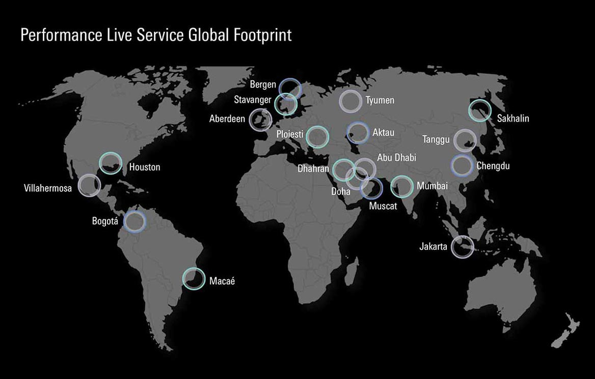 Map of Performance Live service global footprint