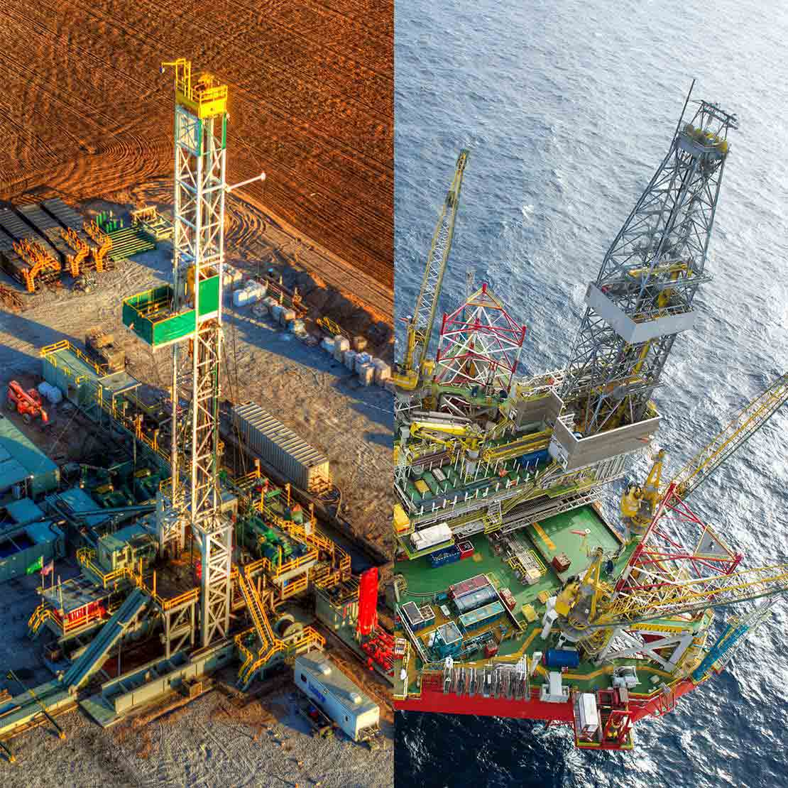 Rigs and Equipment - combo - Land and Offshore rigs