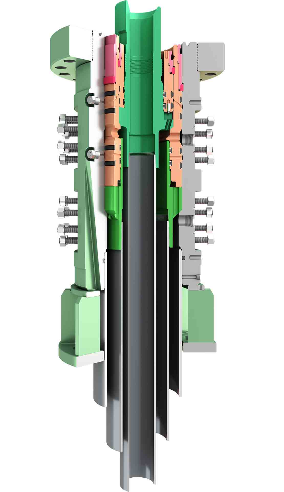 Crossection illustration of the MN-DS wellhead system