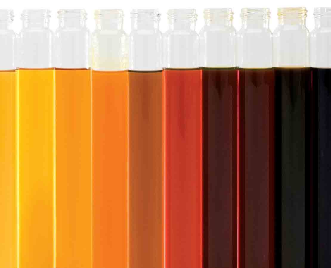Oil samples arranged by color