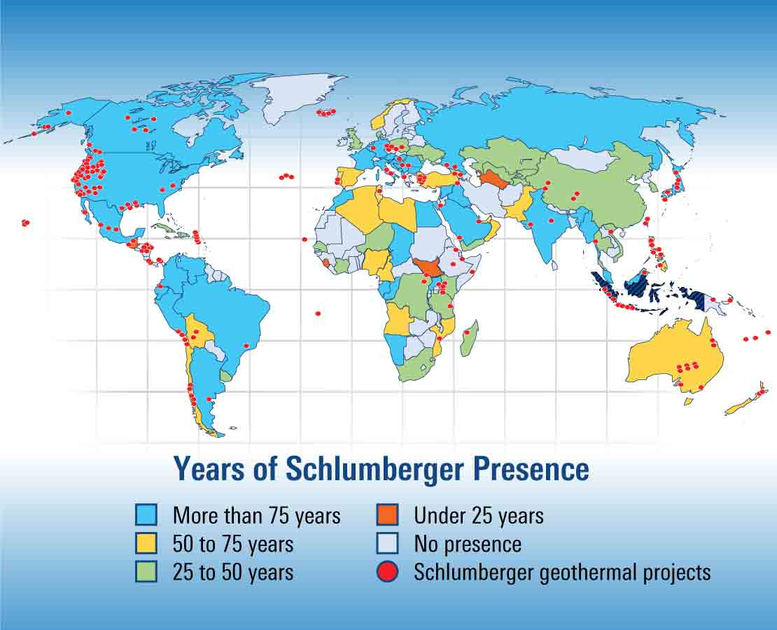Global map of Schlumberger geothermal projects