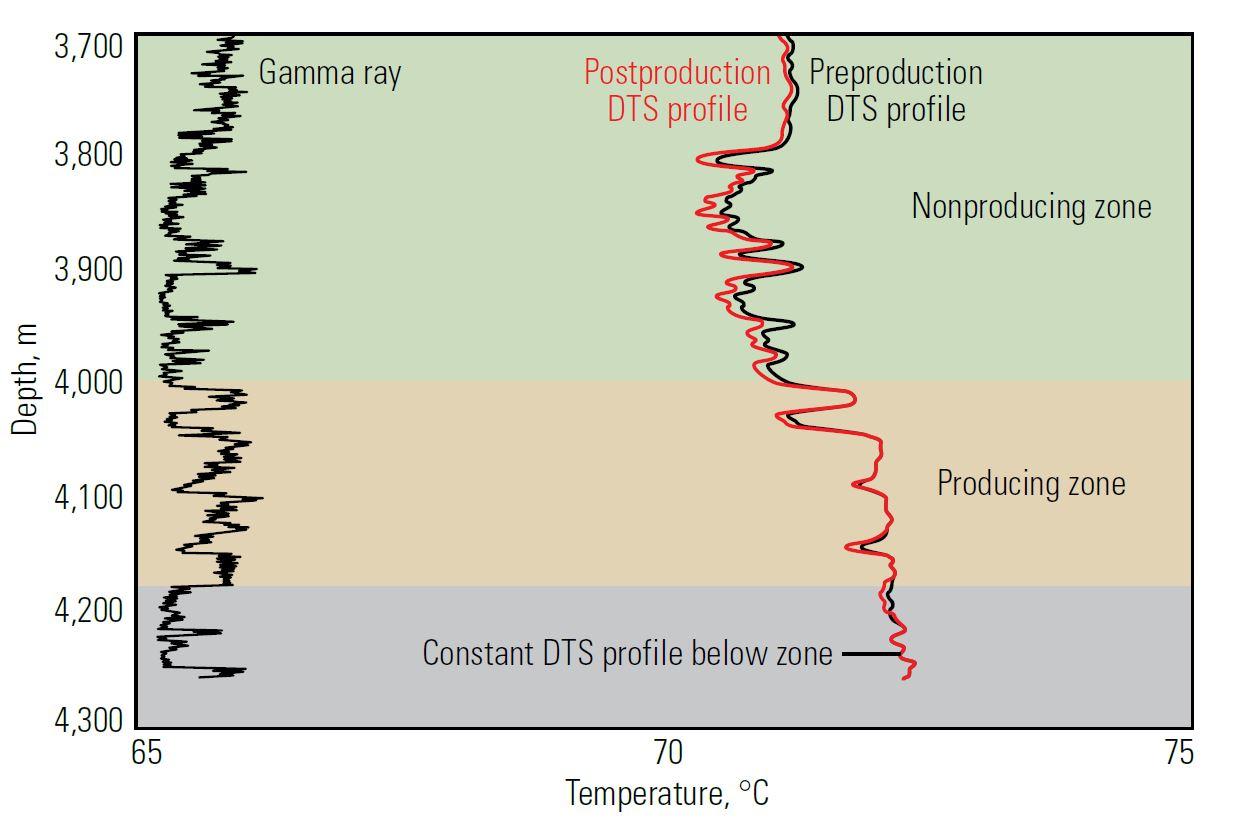 Distributed temperature sensor (DTS) profile.