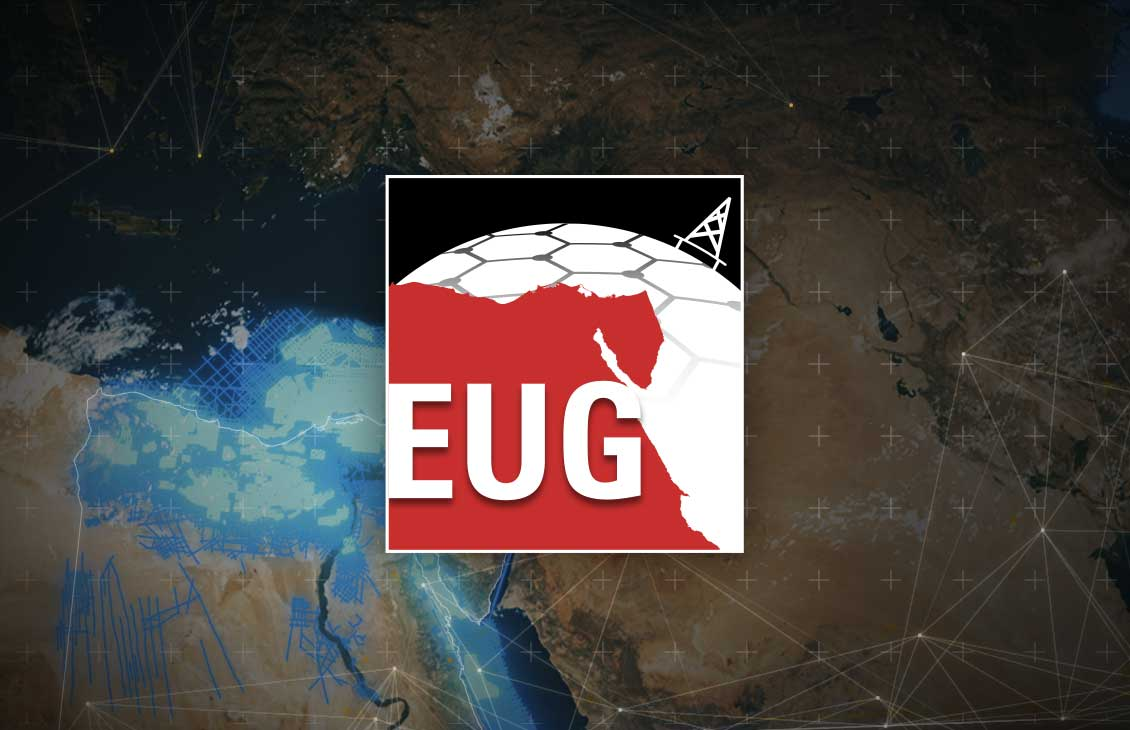 Image of the EUG logo atop the global map of Egypt with seismic lines
