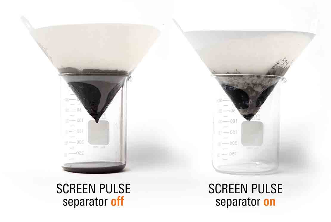 SCREEN PULSE fluid and cuttings separator On and Off