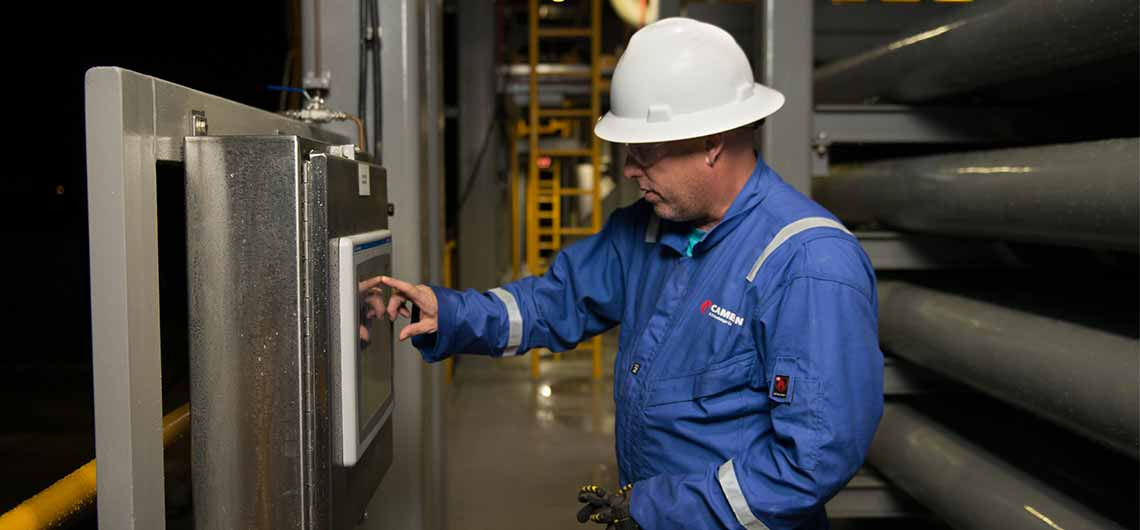 Worker at seawater treatment facility