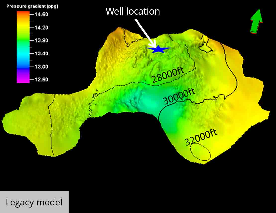 Overlay of pore pressure on a subsalt surface legacy model