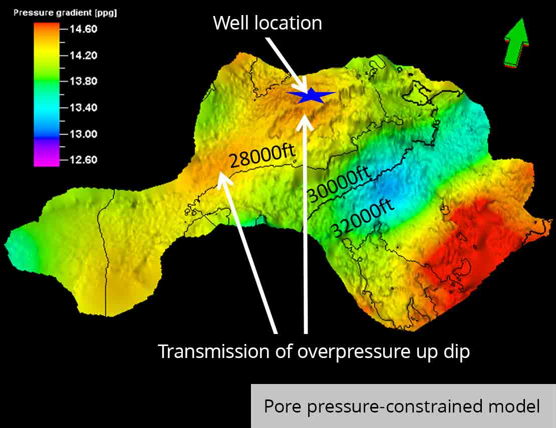 Overlay of pore pressure on a subsalt surface pore-pressure-constrained model