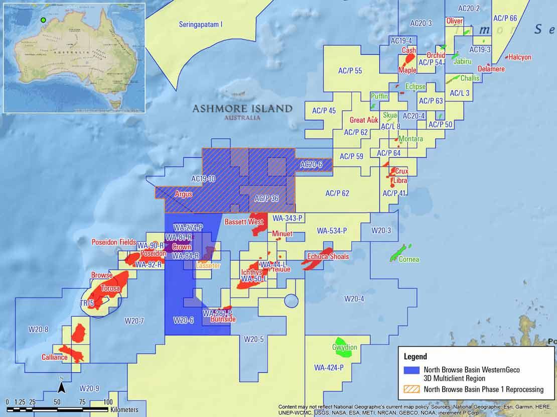 Image showing Browse Basin WesternGeco multiclient 3D survey acquisition and preprocessed surveys, offshore Australia.