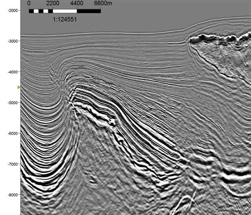 Reprocessed seismic image for Angola 3D.
